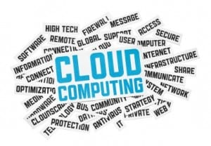 Cut pieces of paper with text on cloud computing theme. Isolated on white.